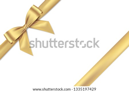 Golden bow realistic shiny satin and ribbon place on corner of paper with shadow,vector EPS10 for decorate your Wedding Ceremony Cards,website or gift card,isolated on white background.