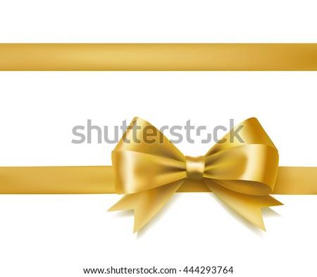 golden bow ribbon on white. decorative design element. vector