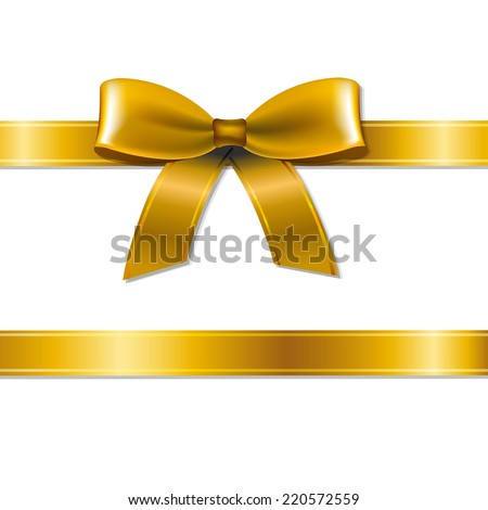 Golden Bow With Gradient Mesh, Vector Illustration