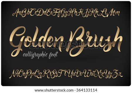 Golden Brush calligraphic font with glossy metall effect