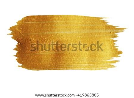 Golden Brush stroke. Vector golden splash. Hand painted yellow background, texture. #419865805