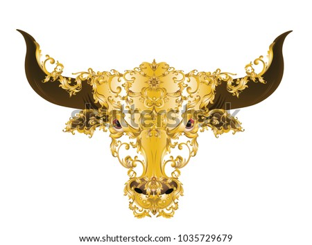 Golden bull head with. Vintage Victorian metal elements on white background, vector, illustration