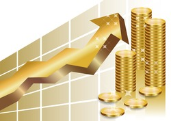 Golden business graph with arrow pointing up and a stack of golden coins showing profit and gain in a successful organisation.