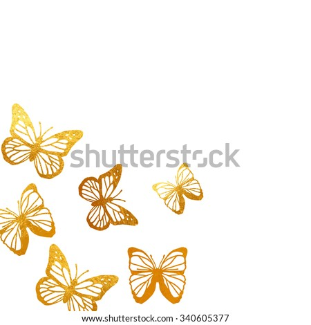 golden butterflies art postcard