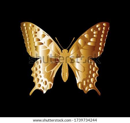 golden butterfly art symbol