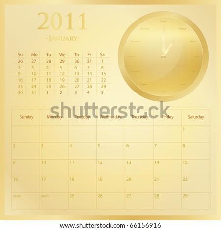 2011 calendar month of january. stock vector : Golden 2011 calendar set - Month of January.