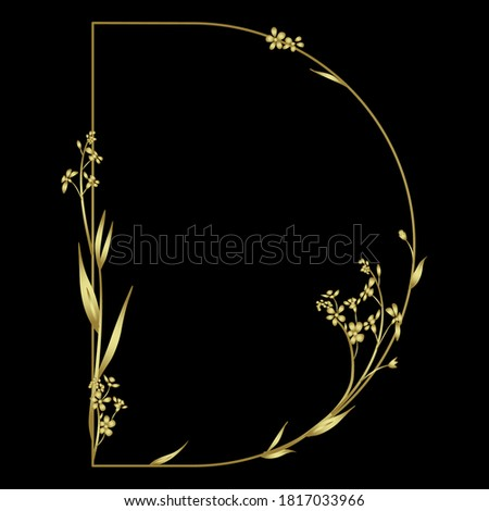 Golden capital letter D with floral motifs. Beautiful alphabet font with forget-me-not flowers. Stok fotoğraf ©