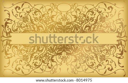 Golden card with royal pattern