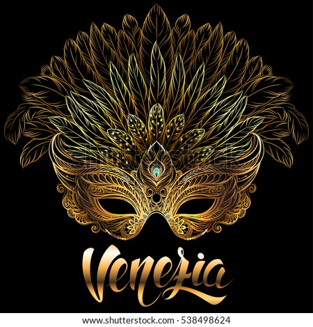 golden carnival mask with