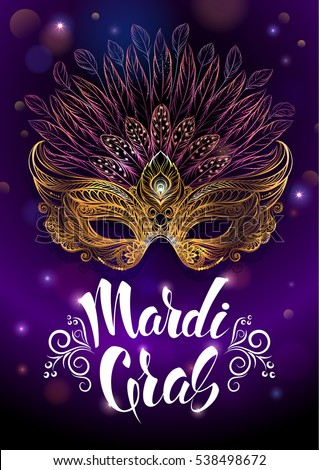"Golden carnival mask with feathers. Vector illustration, beautiful background with hand drawn lettering ""Madrid Gras"" for poster, greeting card, party invitation, banner, flyer to other design."