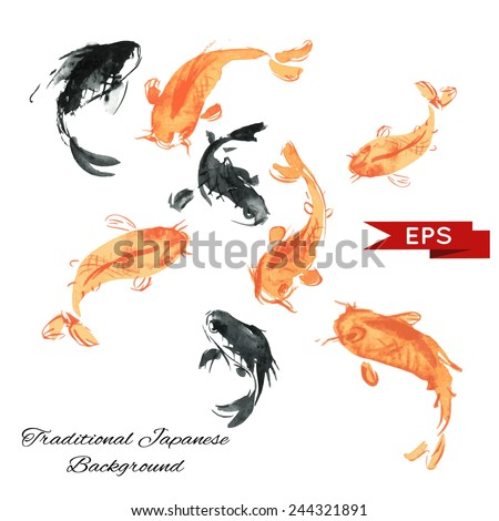 golden carp ink background