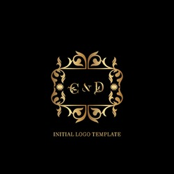 Golden CD Initial logo. Frame emblem ampersand deco ornament monogram luxury logo template for wedding or more luxuries identity