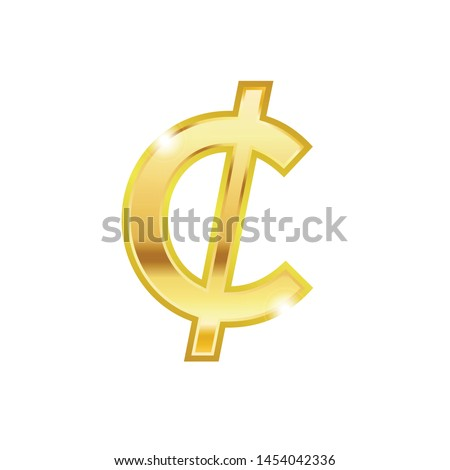 Golden Cent symbol isolated web vector icon. Cent trendy 3d style vector icon. Golden Cent currency sign Stock photo ©