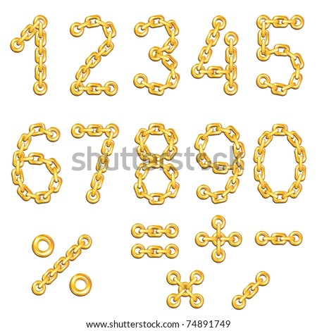 Golden chained digits - stock vector