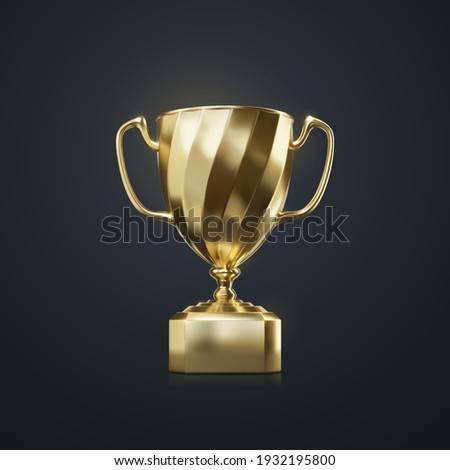 Golden champion cup isolated on black background. Vector realistic 3d illustration. Championship trophy. Sport award. Victory concept