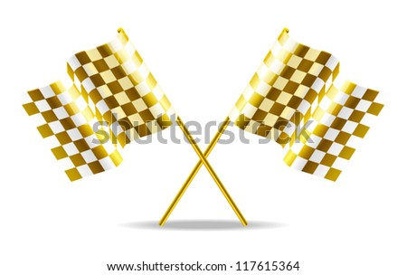 Golden checkered flags vector illustration