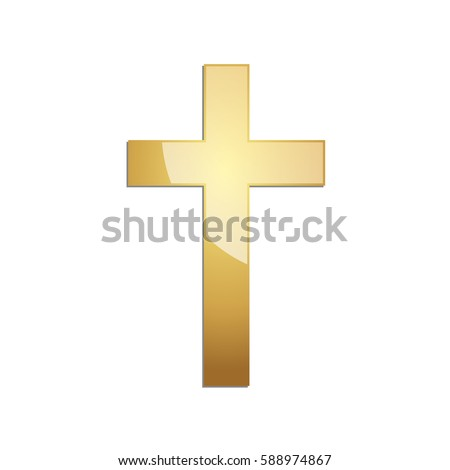 golden christian cross icon