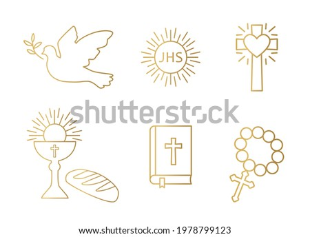 golden christianity icon set; dove, holy communion, cross, chalice and bread, bible and rosary - vector illustration Stock photo ©