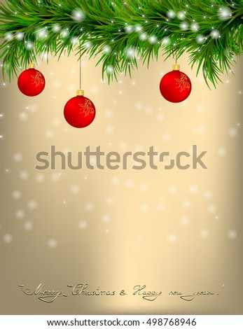 Golden Christmas and New Year Greeting card with fir twigs, snowflakes and Christmas balls
