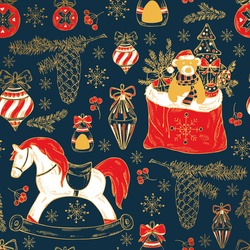 Golden Christmas and New Year seamless card with Christmas decorations, present, Santa's bag and horse. Hand drawn