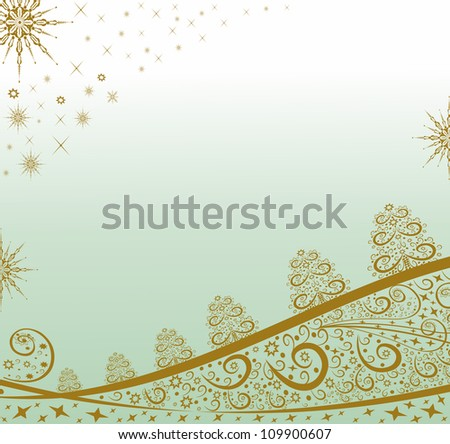 Golden Christmas background in turquoise.Editable and scalable vector