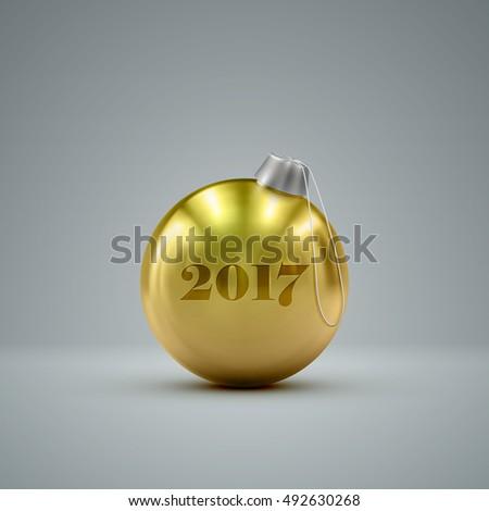 golden christmas ball holiday