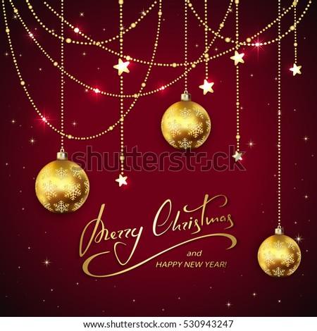 golden christmas balls and