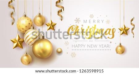 golden christmas  balls light