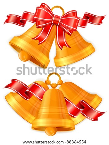 Golden Christmas bells with red bow isolated on white, vector illustration