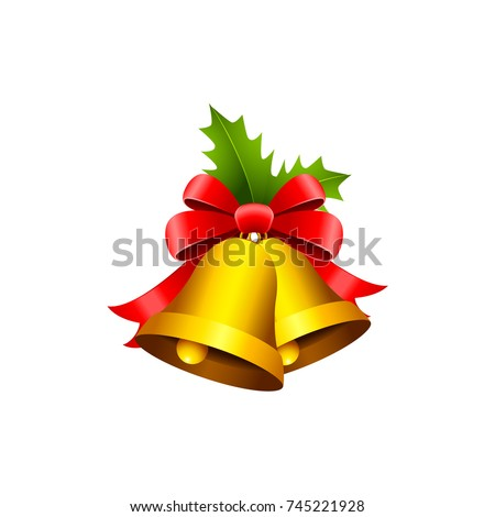 golden christmas bells with red