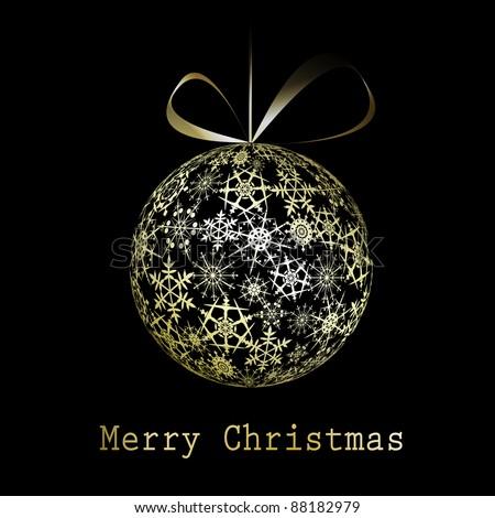 Golden Christmas greeting card. Vector eps10 illustration