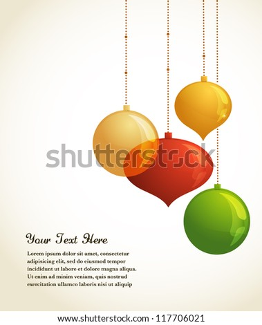 Golden Christmas lights and ornaments - vector background
