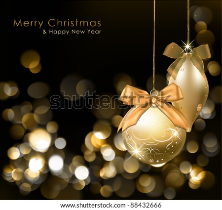 Golden Christmas lights background with ornaments. Vector Illustration. - stock vector