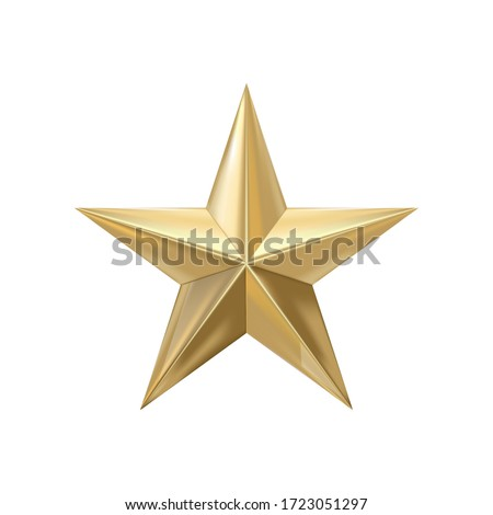 Golden christmas star isolated on white background. Realistic vector icon.