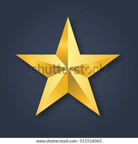Golden Christmas Star vector illustration isolated on black background. Top View. Christmas tree decoration.