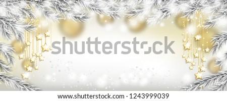 golden christmas stars  snow