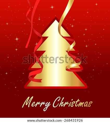 Golden Christmas Tree Banner #268431926