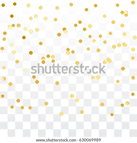 Golden Circle Confetti Falling On Transparent Background. Round. Dot. Polka. Vector