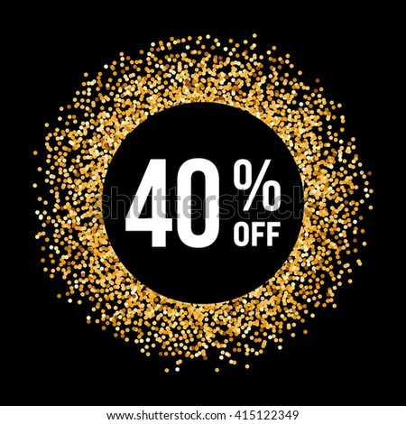 Golden Circle Frame on Black Background with Text Forty Percent Off #415122349