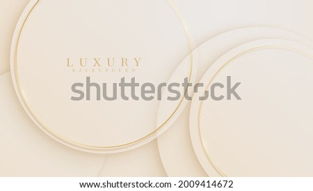 Golden circle lines luxury sparkling on cream pastel color background, Illustration from vector about modern template design that feels precious and expensive.