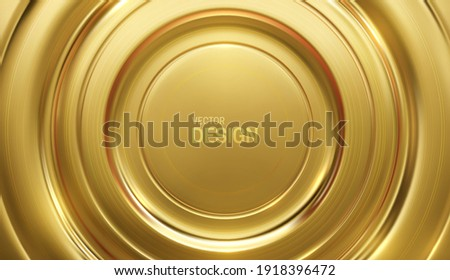 Golden circular background. Gold anisotropic surface. Achievement plaque concept. Sport broadcast decoration design. Vector 3d illustration. Abstract concentric geometry. Minimalist banner.