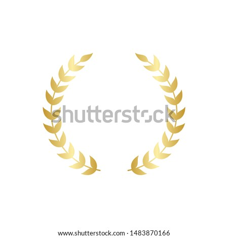 Golden circular laurel foliate or olive branches greek wreath vector illustration isolated on white background. A winner award and achievement heraldry symbol.