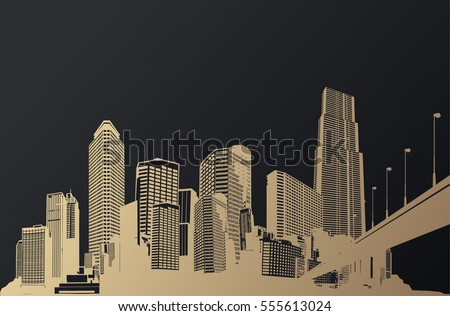 golden cityscape with