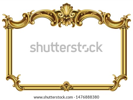 Golden classic rococo baroque frame. Vector graphics. Luxury frame for painting or postcard cover