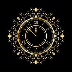 golden clock vitage style for new year and christmas design. vector illustrations
