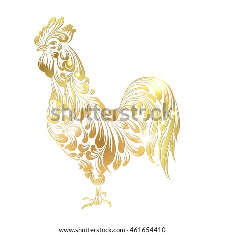 Golden Cock - Chinese calendar symbol of 2017 year. Christmas card with icon of the rooster bird over white background. Happy new year card. Vector illustration.