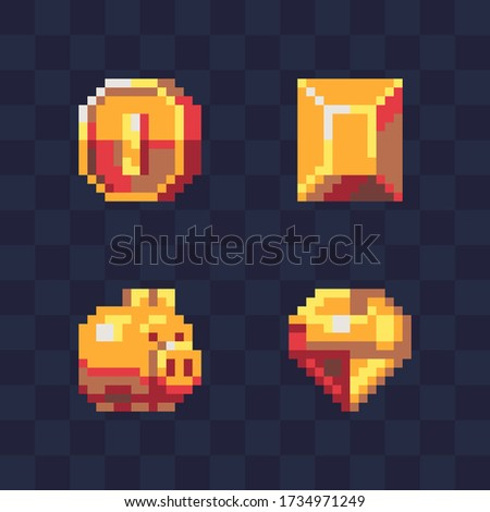 golden coin and piggy  pirate