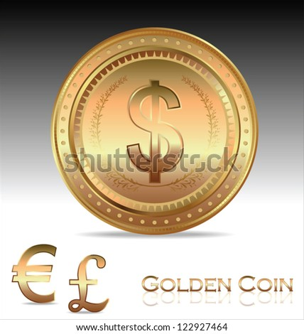 Golden coin. Dollar, euro and pound - stock vector