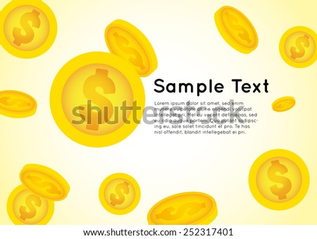 golden coin falling from sky vector