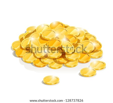 golden coin heap vector illustration isolated on white background EPS10. Transparent objects and opacity masks used for shadows and lights drawing. Vector Illustration.